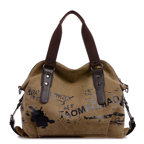 Leather and Canvas Womens Printed Messenger Bag
