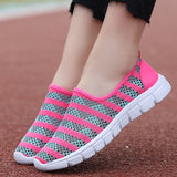 Geometric Striped Mesh Slip-Ons