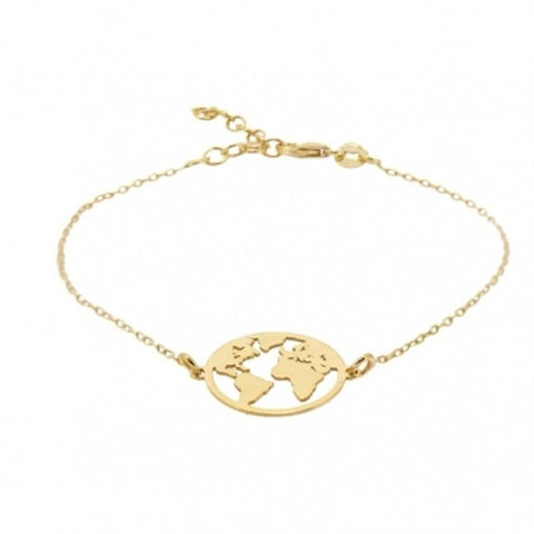 Global Map Bracelet in Gold or Silver Plate