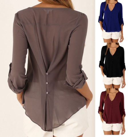 Button Back Shirt in 10 Colors