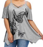 Cold Shoulder Criss-Cross Butterfly Blouse