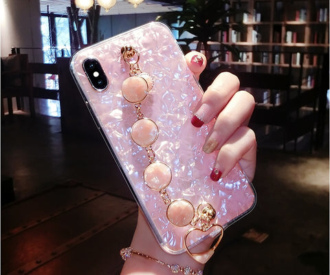 Marbled Bracelet Phone case with Heart Charm for iPhone 6 - 11 Pro in Pink or White