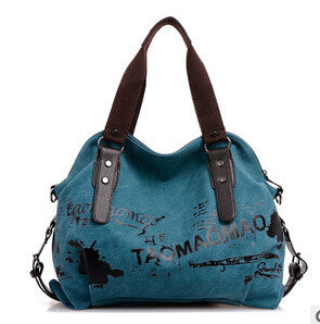 Leather and Canvas Printed Messenger Bag in 3 Colors