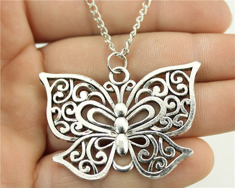 Antique Style Silver Butterfly Necklace