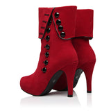 Military Style Dress Boots in Red or Black