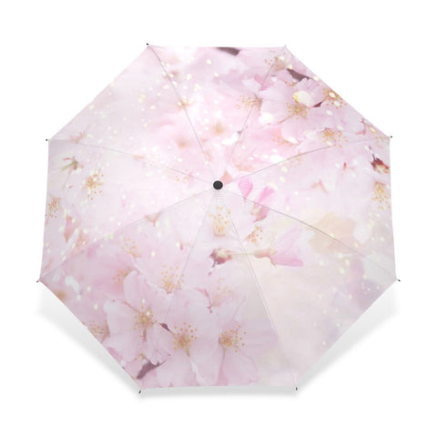 Soft Pink Flowers UV blocking Wind Resistant Umbrella