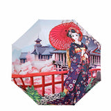 Japanese Girl in Garden Wind Resistant Umbrella