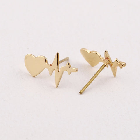 Heart Beat Pierced Earrings