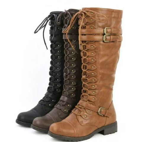 Buckles and Laces Knee Boots in 3 Colors