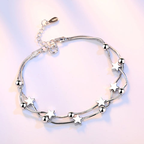 Silver Stars and Beads Bracelet