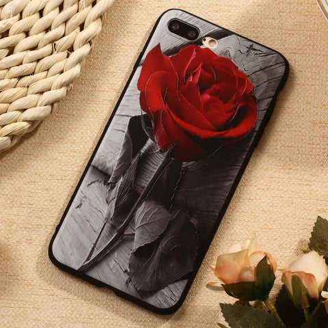 3D Effect Red Rose Silicone Rubber Case for iPhone 5 - X