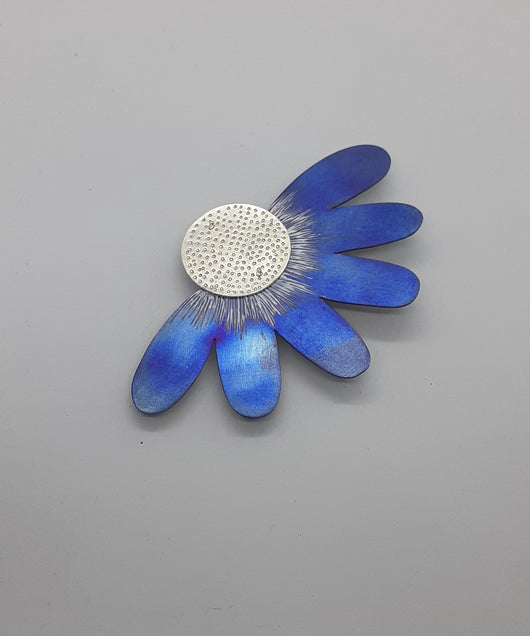 "Unique, Contemporary Handmade Sterling Silver and Titanium Brooch, Titled "" Daisy"""
