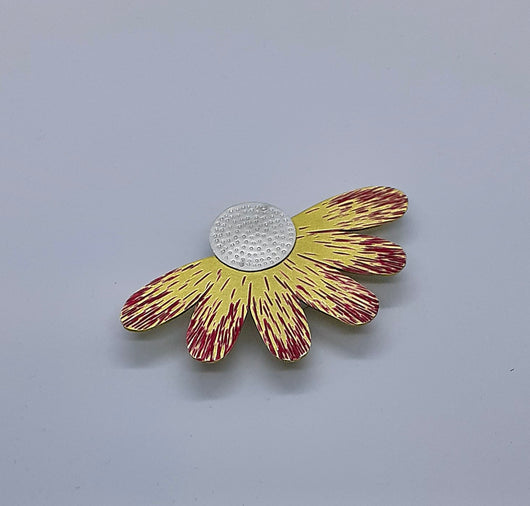"Unique, Contemporary, Handmade, Sterling Silver and Gold Colour Brooch, Titled "" Daisy"""