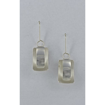 Three Dimensional Rectangular Fine Silver Earrings - Sterling Silver ear wire - 'ELLIPTICAL I.'