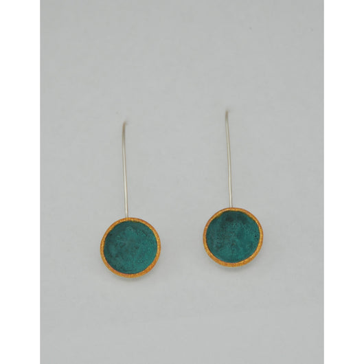 Silver Domed Earrings - Copper - Painted Gold Details - Sterling Silver ear wire - 'PATINA EMOD I.'