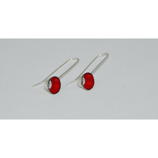 Fine Silver Earrings - Painted Details - Sterling Silver ear wire -'CP I.'