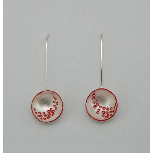 Fine Silver Circular Domed Earrings - Painted Red Details - Sterling Silver ear wire - 'EMOD IV.'