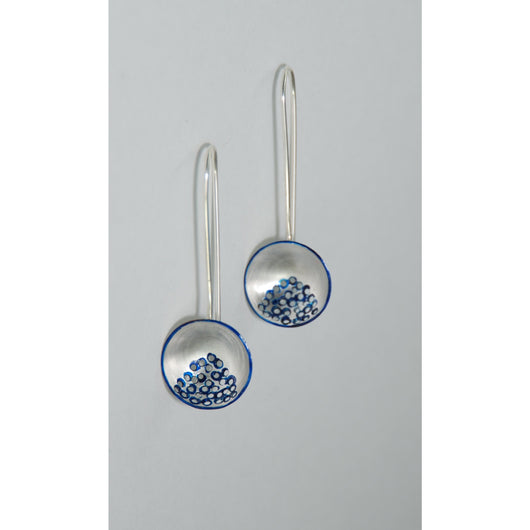 Fine Silver Circular Domed Earrings - Painted Blue Details - Sterling Silver ear wire - 'EMOD III.'