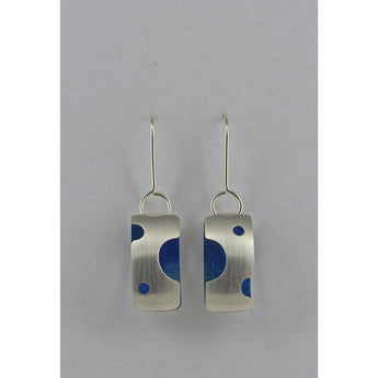 Three Dimensional Rectangular Fine Silver Earrings - Blue Painted Details - Sterling Silver ear wire - 'ELLIPTICAL II.'