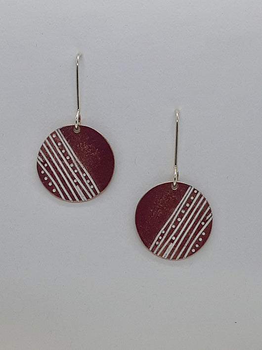 Unique, Colourful,  Contemporary, Handmade, Earrings Made by  Mono Printing Method.
