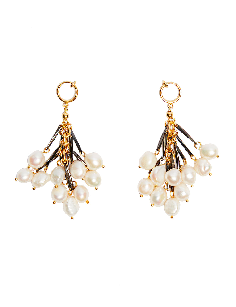 Crystal fringe earrings (hoop clip)