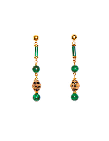 Malachite earrings (silver fishhook)