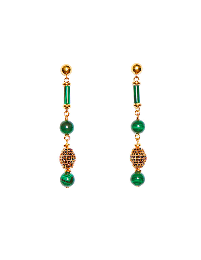 Malachite earrings (clip)