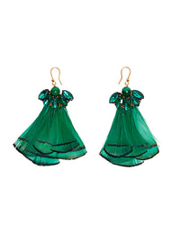 Malachite feather earrings (stud)