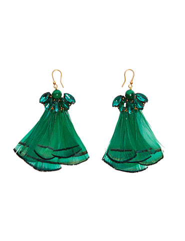 Malachite feather earrings (gold fishhook)