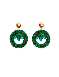 Malachite round earrings (silver fishhook)
