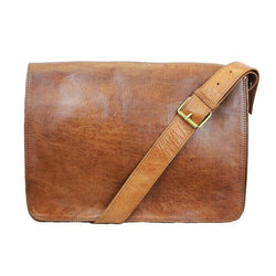 Victor Leather Messenger Bag - Tan-ISMAD LONDON