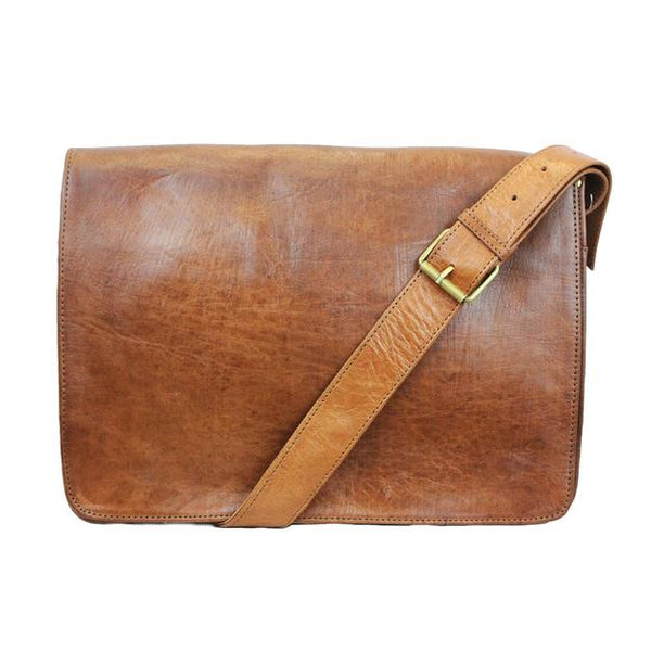 Victor Leather Messenger Bag - Tan