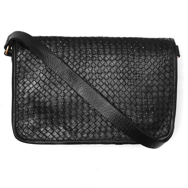 Charlotte Woven Shoulder Bag - Black