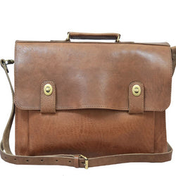 Brixton Briefcase - Tan-ISMAD LONDON