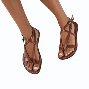 2 Buckle Leather Sandals - handmade leather bags ismadlondon
