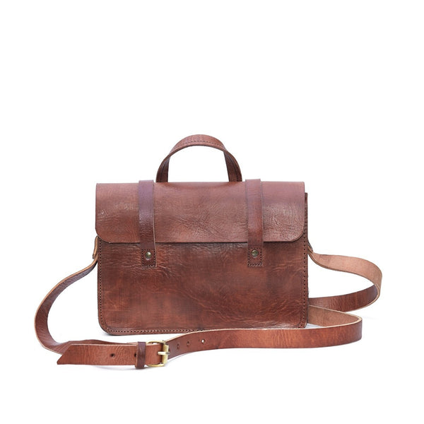Tan Leather Mini Satchel