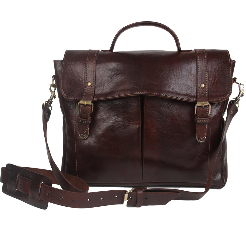 Oxford Briefcase - Chocolate-ISMAD LONDON