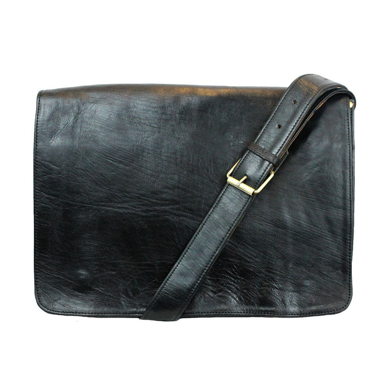 Victor Leather Messenger - Black