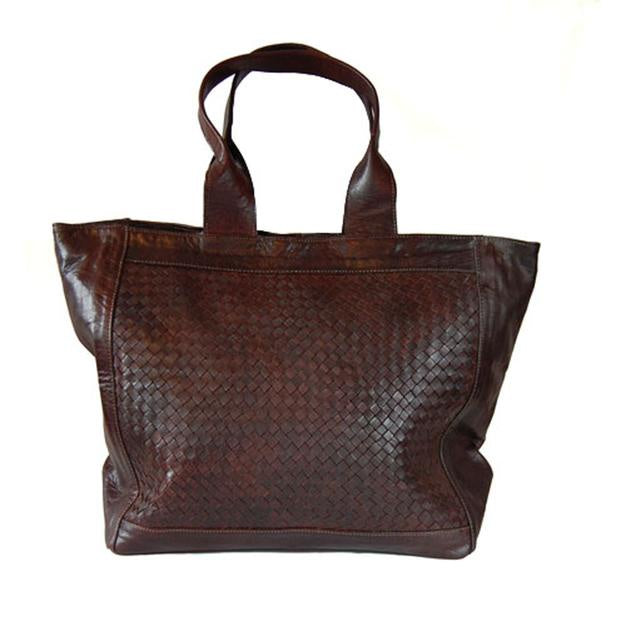 Detail Woven Tote - Chocolate-ISMAD LONDON