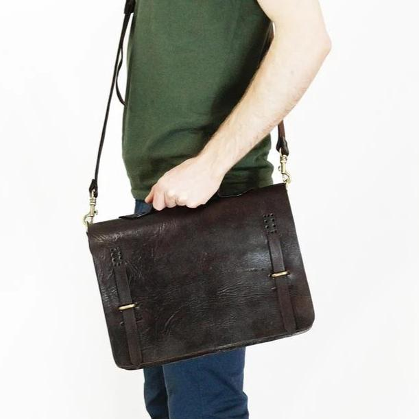 Camden Loop Briefcase - Chocolate