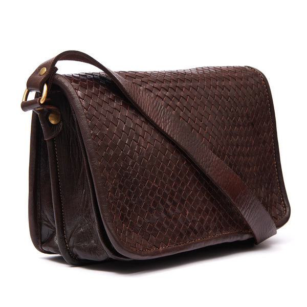 Charlotte Woven Shoulder Bag - Chocolate-ISMAD LONDON