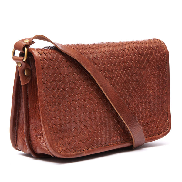 Charlotte Woven Shoulder Bag - Tan