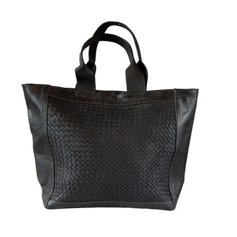 Detail Woven Tote - Black-ISMAD LONDON