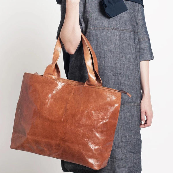 Ismad Shopper Tote -Tan-ISMAD LONDON
