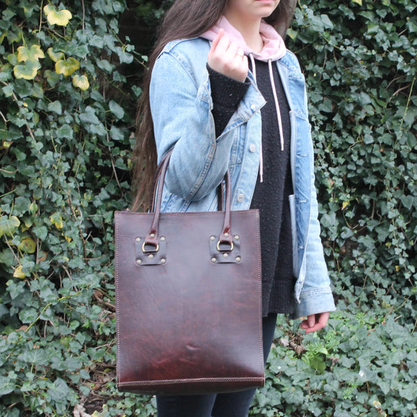 Sofia Leather Tote - Chocolate-ISMAD LONDON