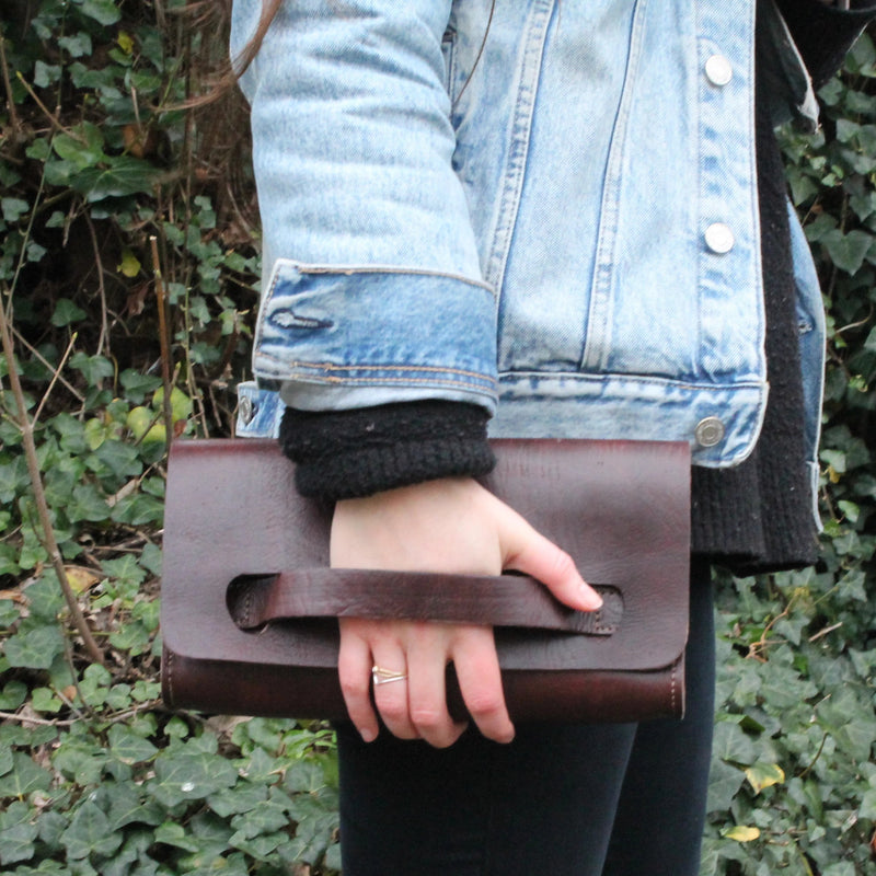Natasha Clutch Bag - Chocolate-ISMAD LONDON