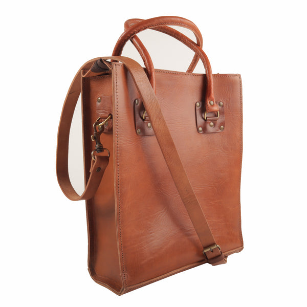 Sofia Leather Tote - Tan-ISMAD LONDON