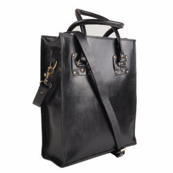 Sofia Leather Tote - Black-ISMAD LONDON