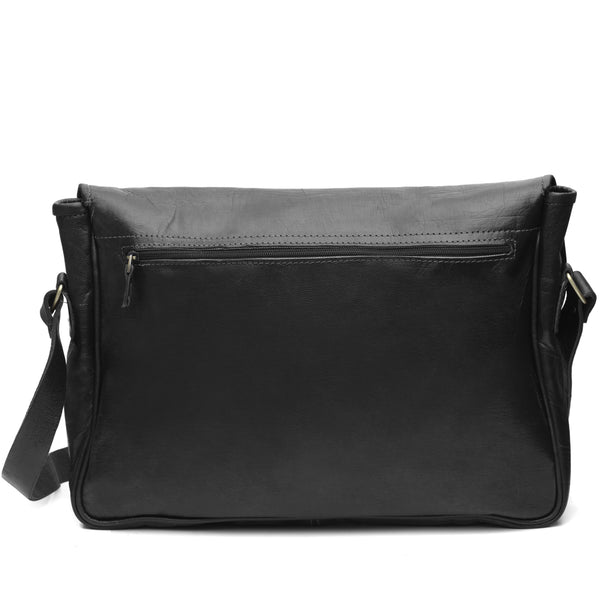 Black Leather Buckle Messenger