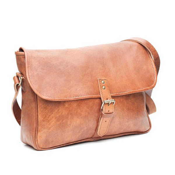 Tan Buckle Messenger